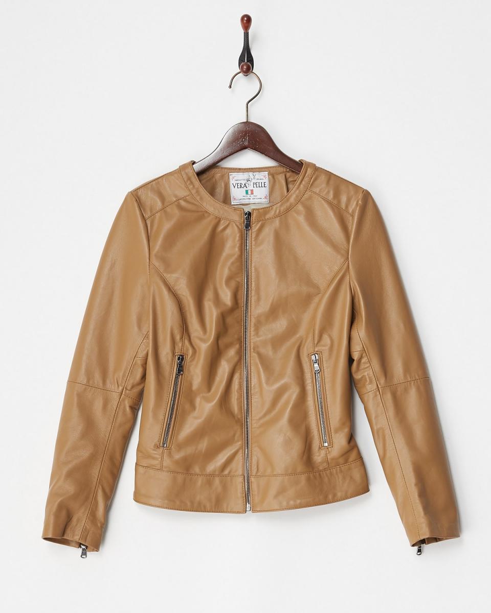 Vesgioia / beige lamb leather round color jacket ○ F-175153 / Women's