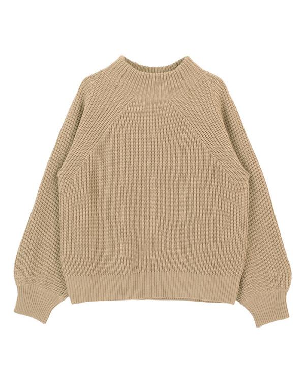 再找補一下/米色瓶頸針織套頭衫○AQXP1542 /女裝