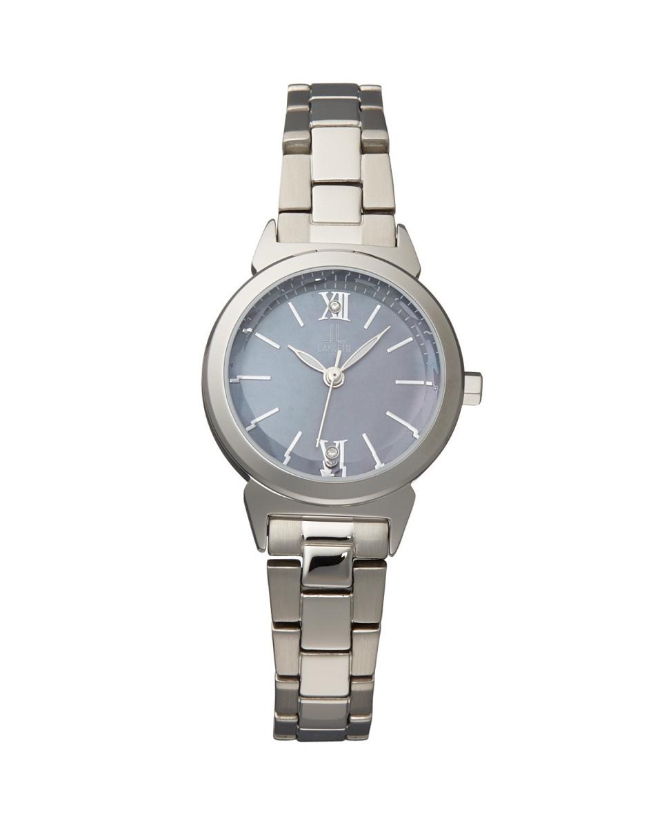 蘭切蒂/銀×黑太陽貝殼圓形腕錶○LT 6213S-BK /女裝