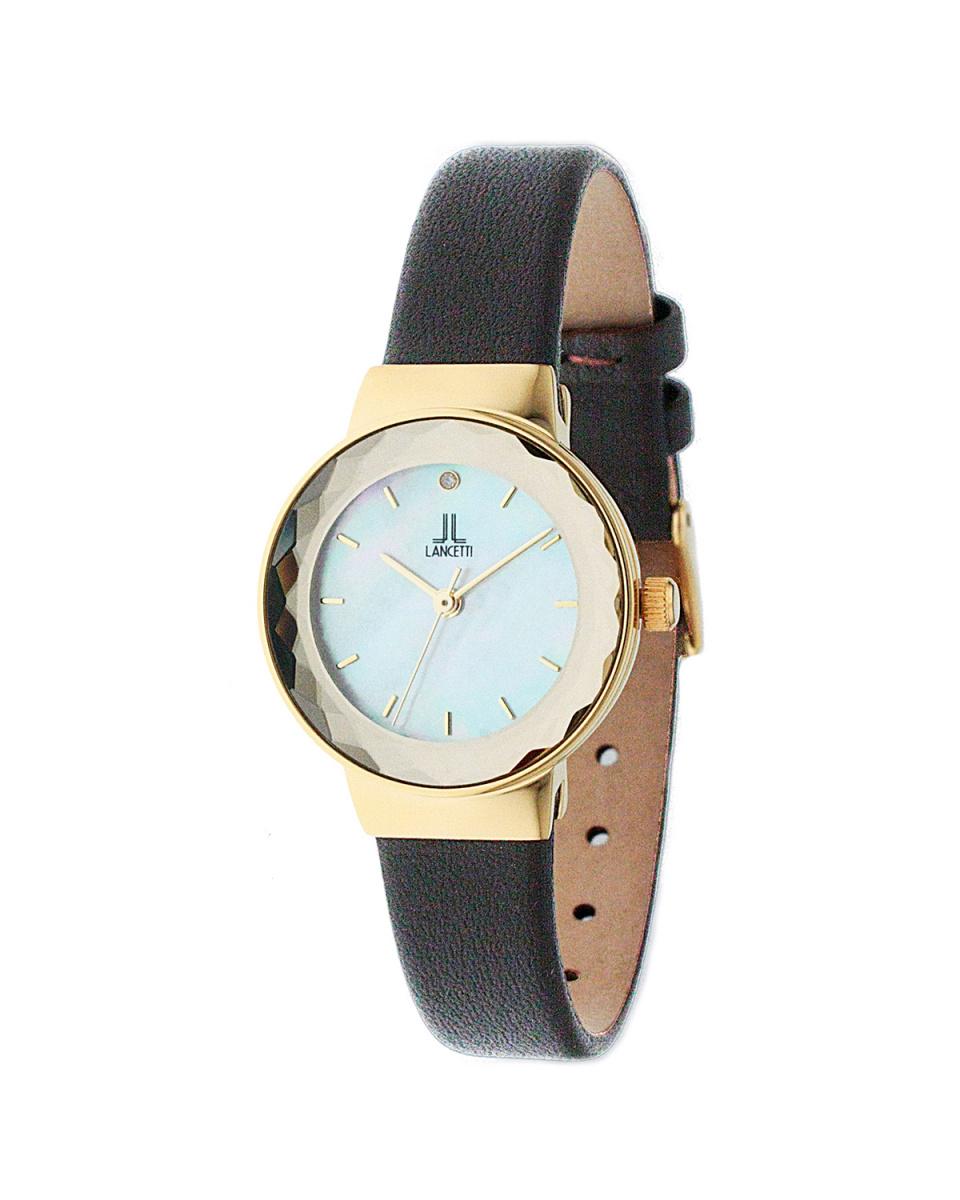 蘭切蒂/金×白/棕太陽能皮帶圓形腕錶○LT 6214G-WHBR /女裝