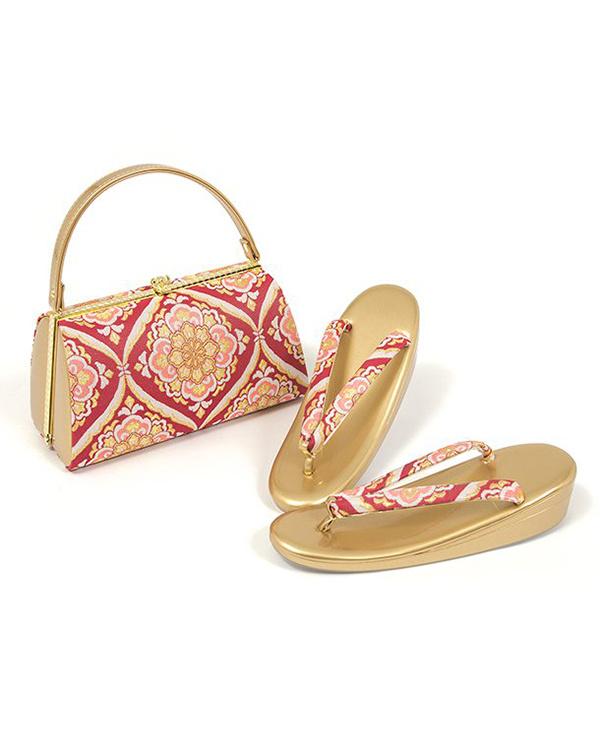 Kimono play .net / Red / beige flower C sandals bag set ○ 71-KJ16-F026set