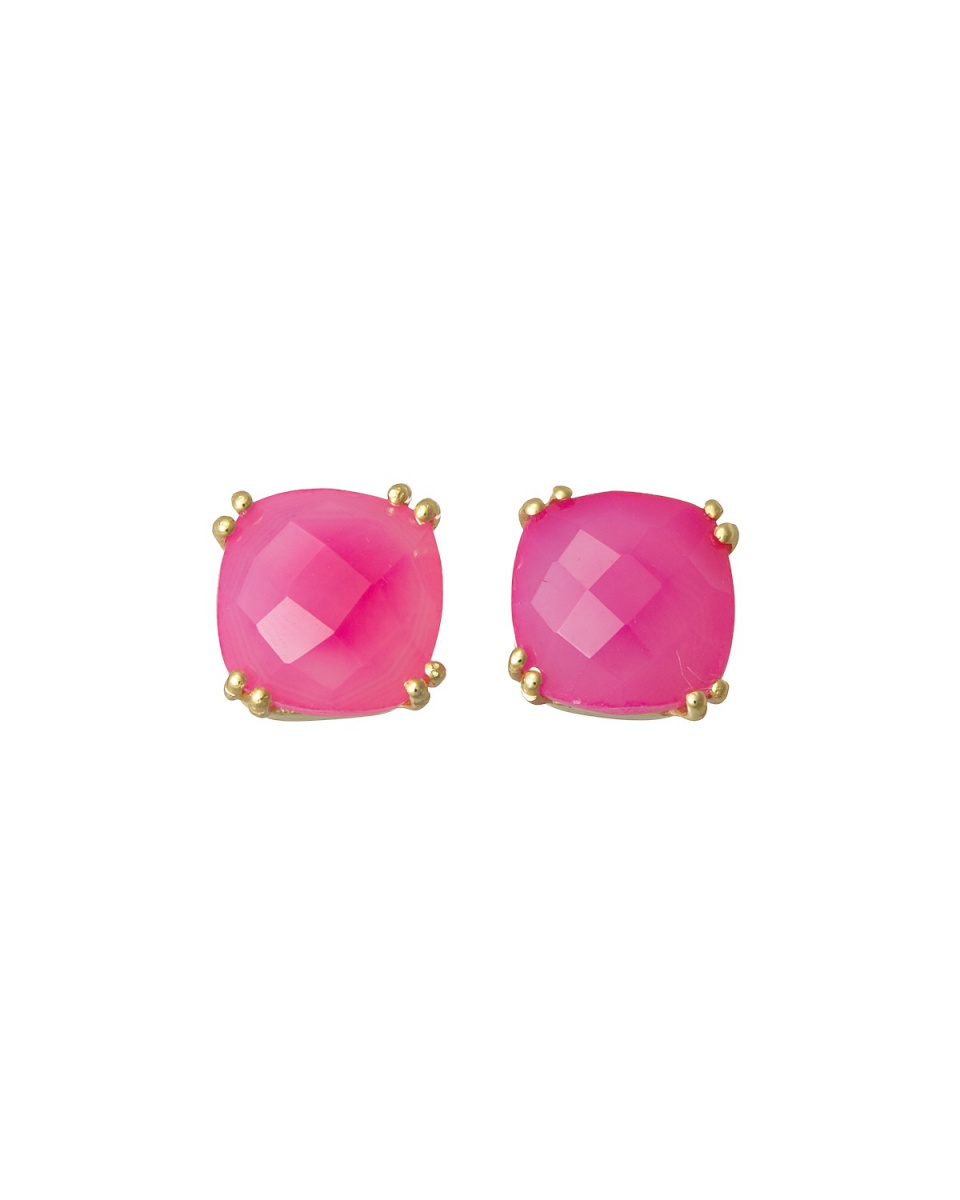 AZUNI / Fuchsia Square Stone Earrings