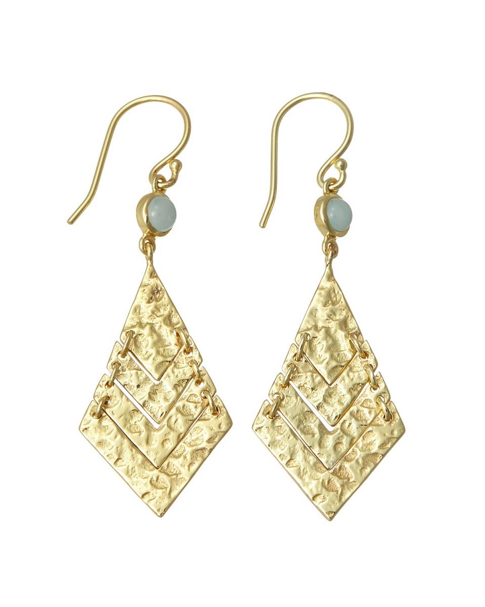 AZUNI / aqua diamond-shaped plate hook earrings