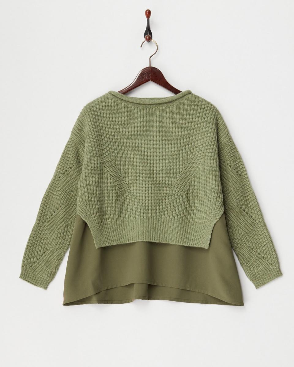 VINGTROIS / M Green Shetland hem chiffon layered pullover ○ 133-90476 / Women's