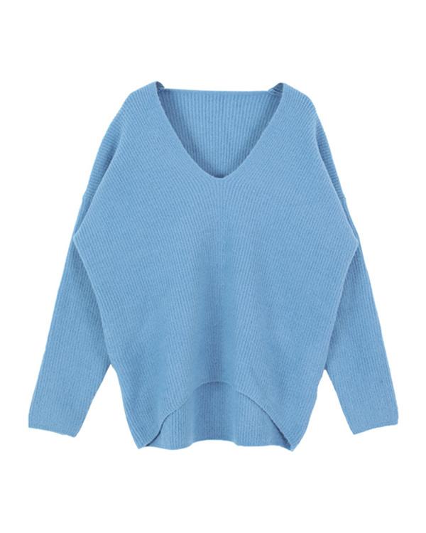 再找補一下/藍蓬鬆的V領針織套頭衫○AQXQ1251 /女裝