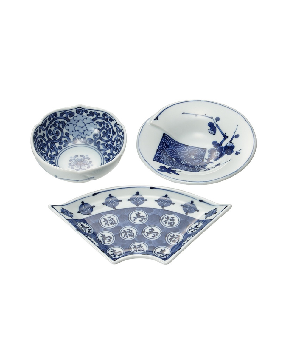 JAPANESE TABLEWARE / auspicious picture changes trio small dish ○ 4965089867264