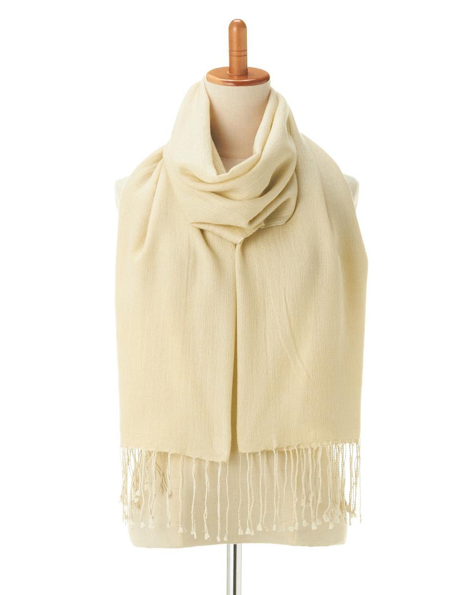 YOSHIMASA / beige silk cashmere twill plain stall   UNISEX