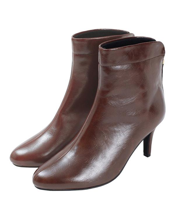 titivate / Brown back zipper short boots ○ AQXP1627 / Women's