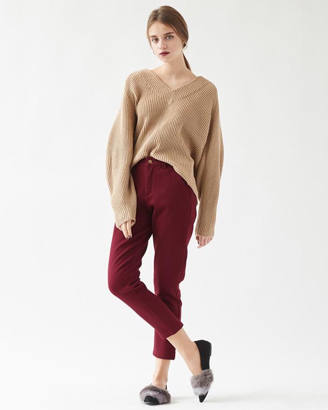 再找补一下/波尔多回羊毛锥形裤○AQXP1703 /女装