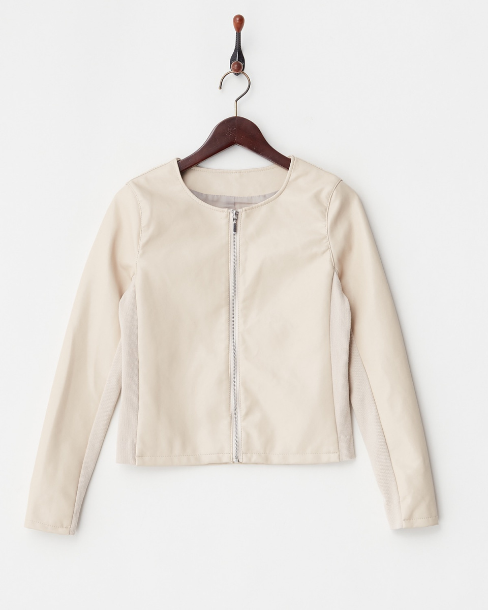 Human 2nd Occasion / beige no color rib switching tone leather blouson ○ 81-1574 / Women's