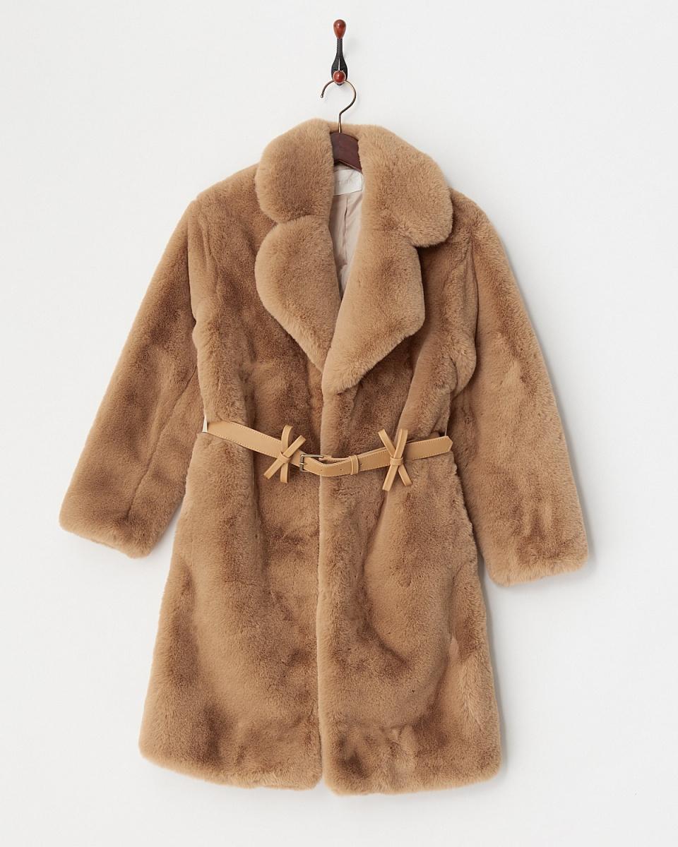 MIIA / beige ribbon belt with fake fur coat ○ 32743519 / Women's