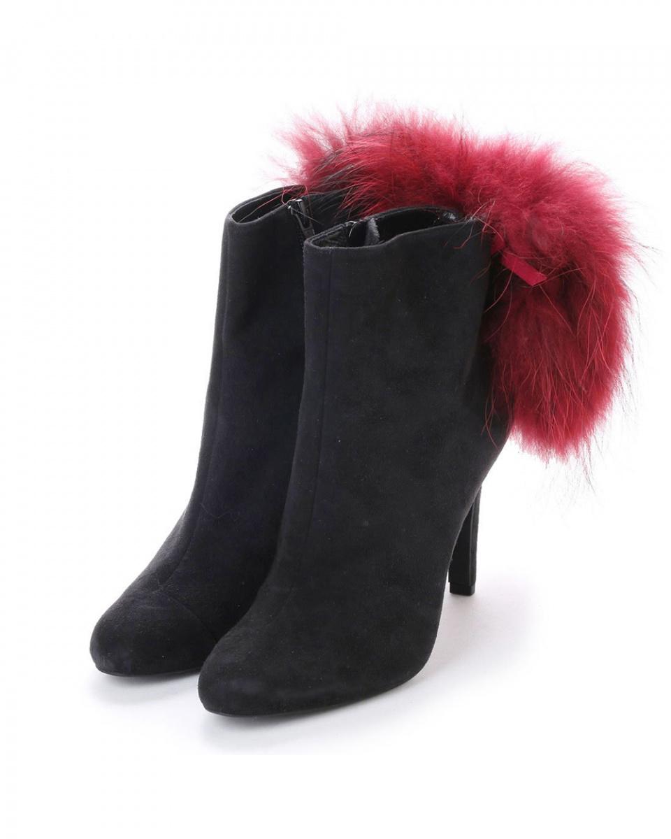 七十二點半/黑色麂皮貉子毛高跟短靴○101252 /女裝