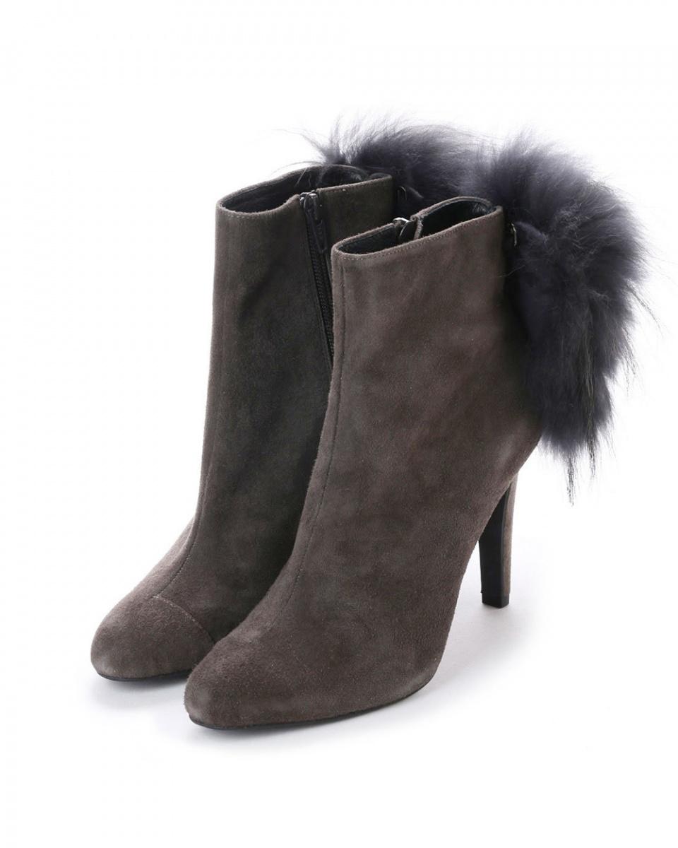 七十二點半/灰色麂皮貉子毛高跟短靴○101252 /女裝