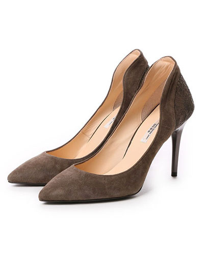SEVEN TWELVE THIRTY / khaki suede Pointed Toe high counter pumps ○ 102351 / Women's