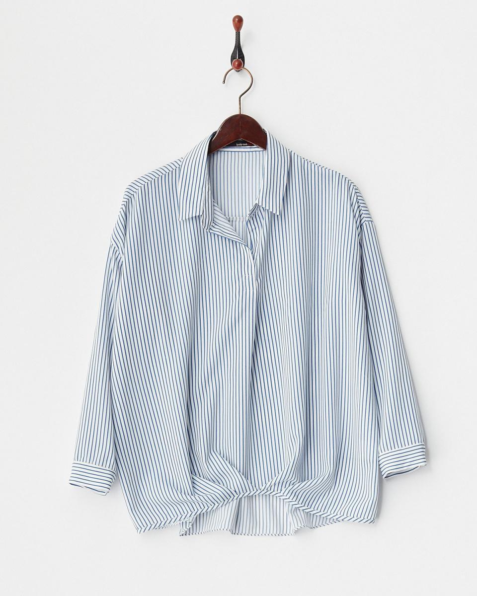 honky tonk / blue skirt design tuck stripe blouse ○ HB180112 / Women's