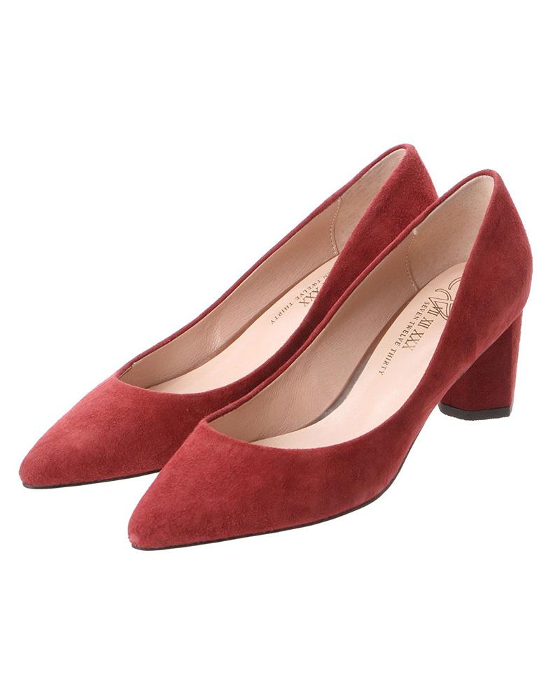 V-SEVEN十二點半/波爾多麂皮艾倫矮胖的鞋跟尖的鞋頭泵