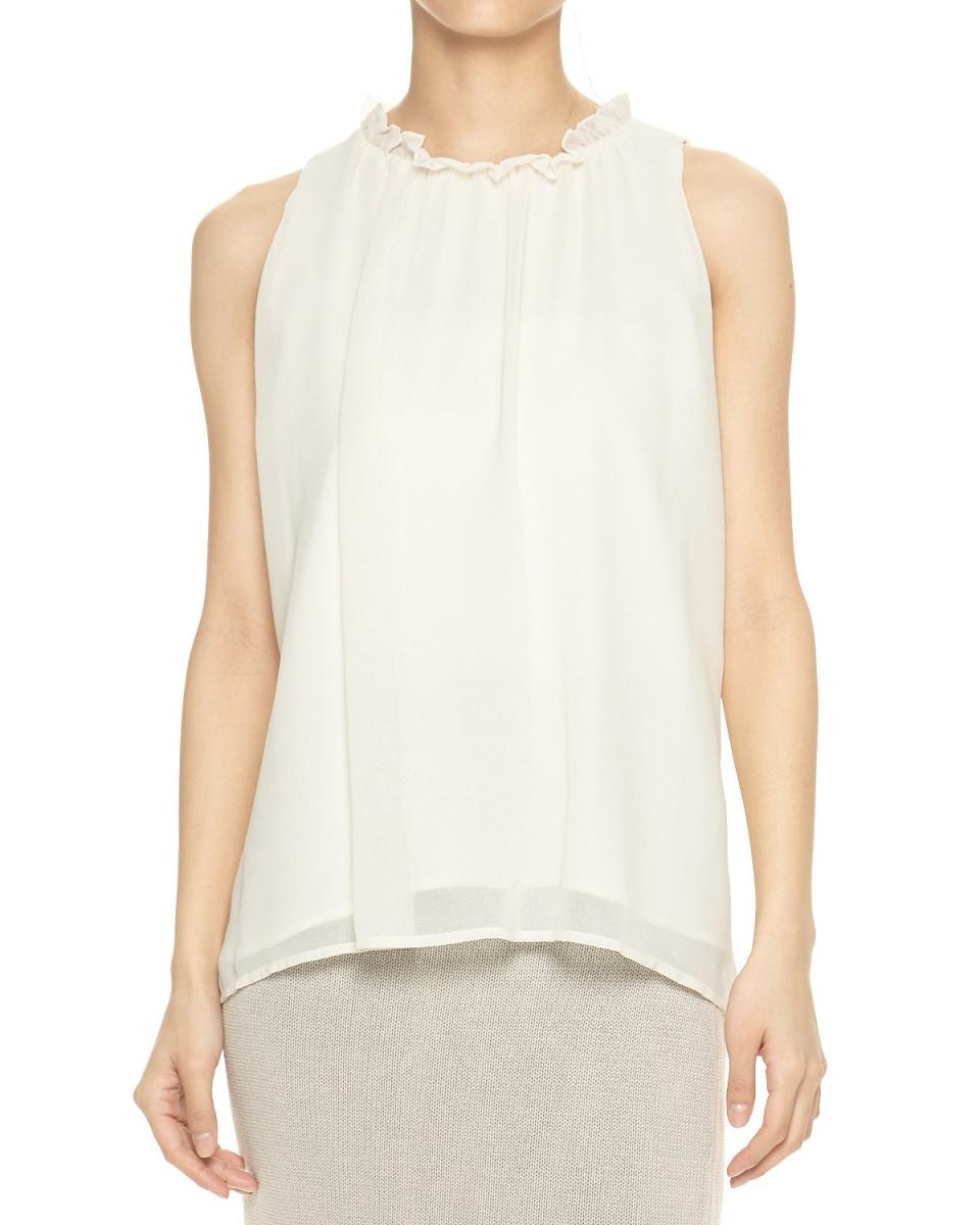 DRWCYS /白色荷葉邊襯衫頸部