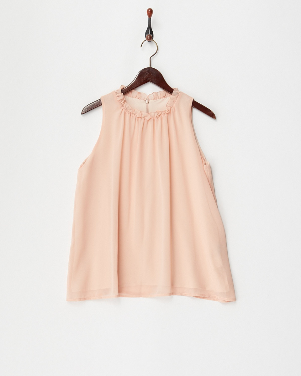DRWCYS /粉色荷叶边衬衫颈部○73182002 /女子