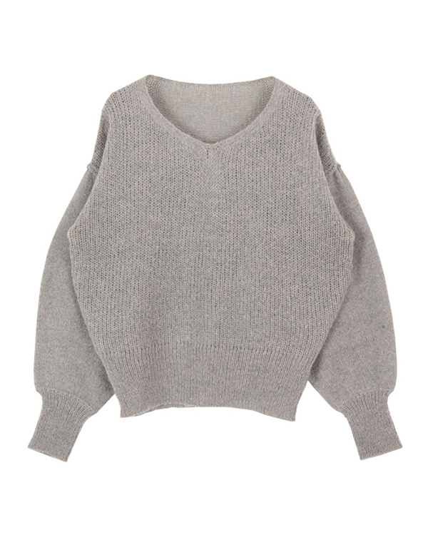 titivate / heather gray low gauge volume sleeve knit ○ AQXP1634 / Women's