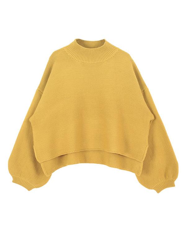 再找補一下/黃瓶頸卷袖針織○AQXP1641 /女裝