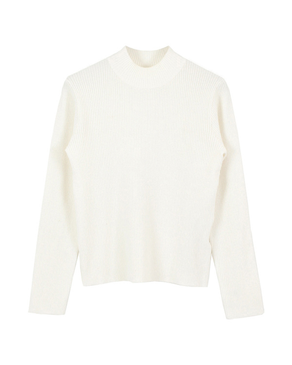 titivate / white bottle neck simple rib knit pullover ○ AQXP1661 / Women's