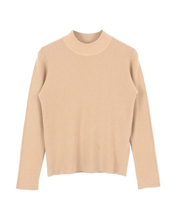 再找补一下/米色瓶颈简单的罗纹针织套衫○AQXP1661 /女装