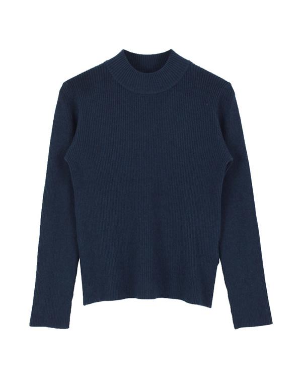 再找補一下/海軍瓶頸簡單的羅紋針織套衫○AQXP1661 /女裝