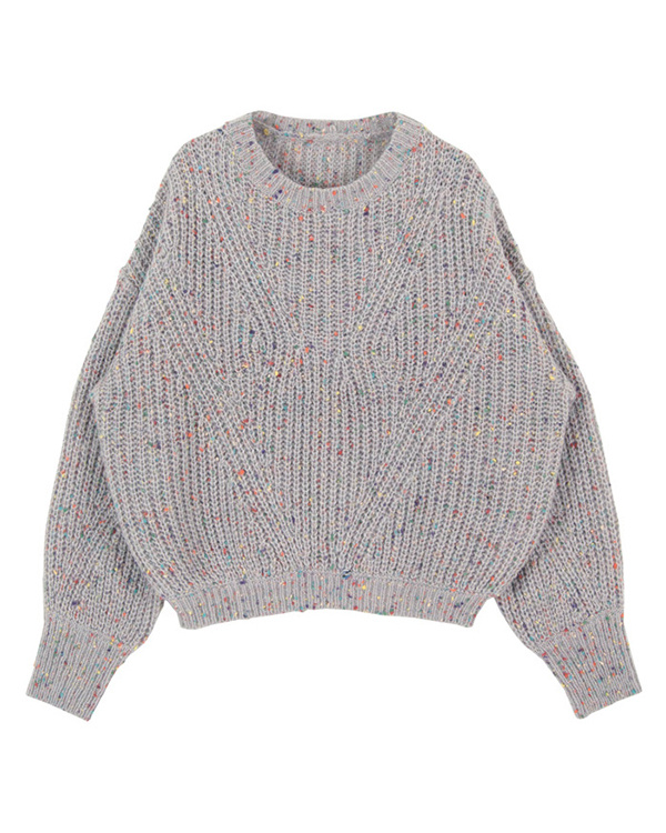 titivate / light gray colorful yarn knit pullover ○ AQXP1675 / Women's