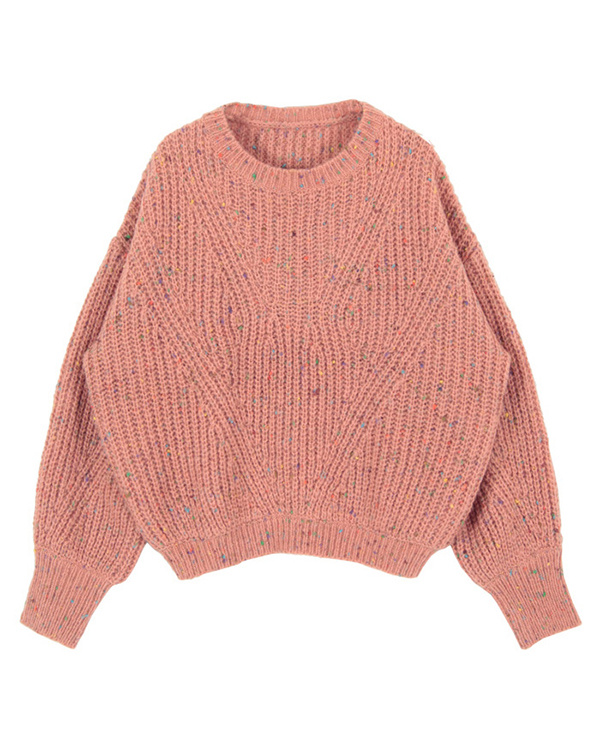 titivate / light orange colorful yarn knit pullover ○ AQXP1675 / Women's