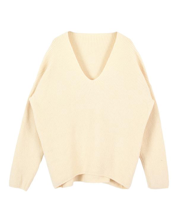 再找補一下/象牙色蓬鬆的V領針織套頭衫○AQXQ1251 /女裝