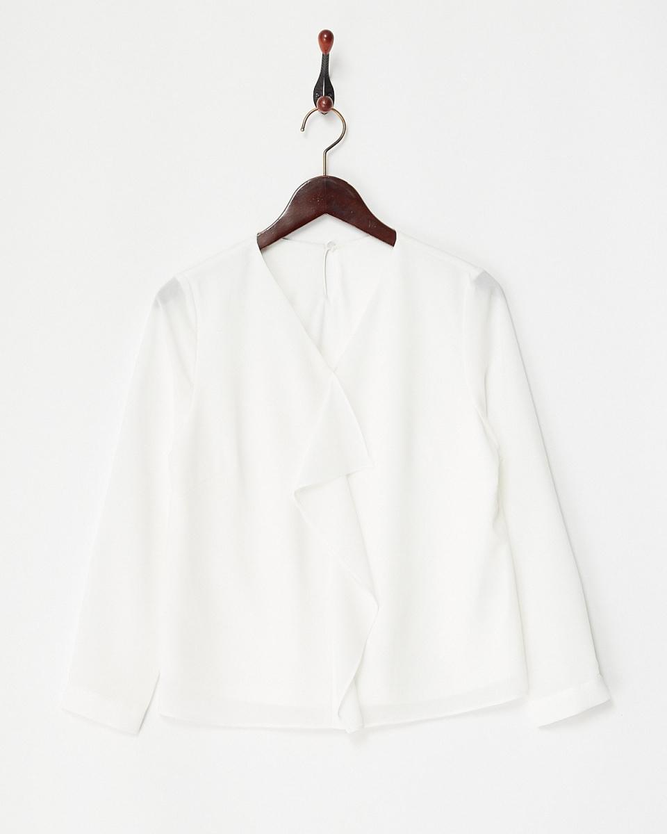 白喬LA /灰白色彈力雪紡荷葉邊罩衫