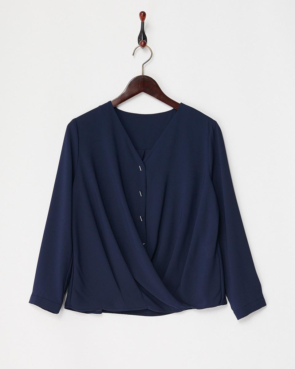 White Joe La / navy stretch georgette blouse Kashukuru