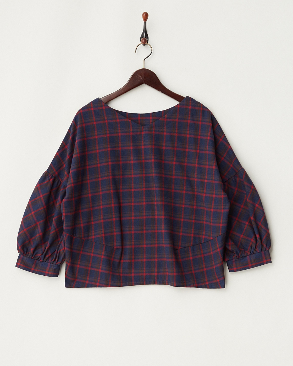 LucyPearl / navy check blouse / Women's