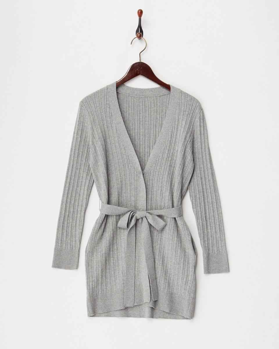 二十三/灰色色帶拆洗腰部肋骨針織開衫○341-21654 /女裝