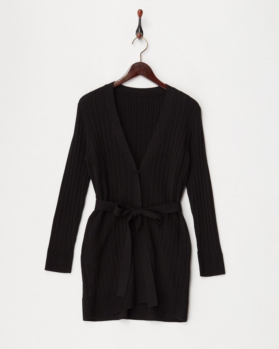 Twenty Three / black washable ribbed ribbon waist knit cardigan ○ 341-21654 / Women's