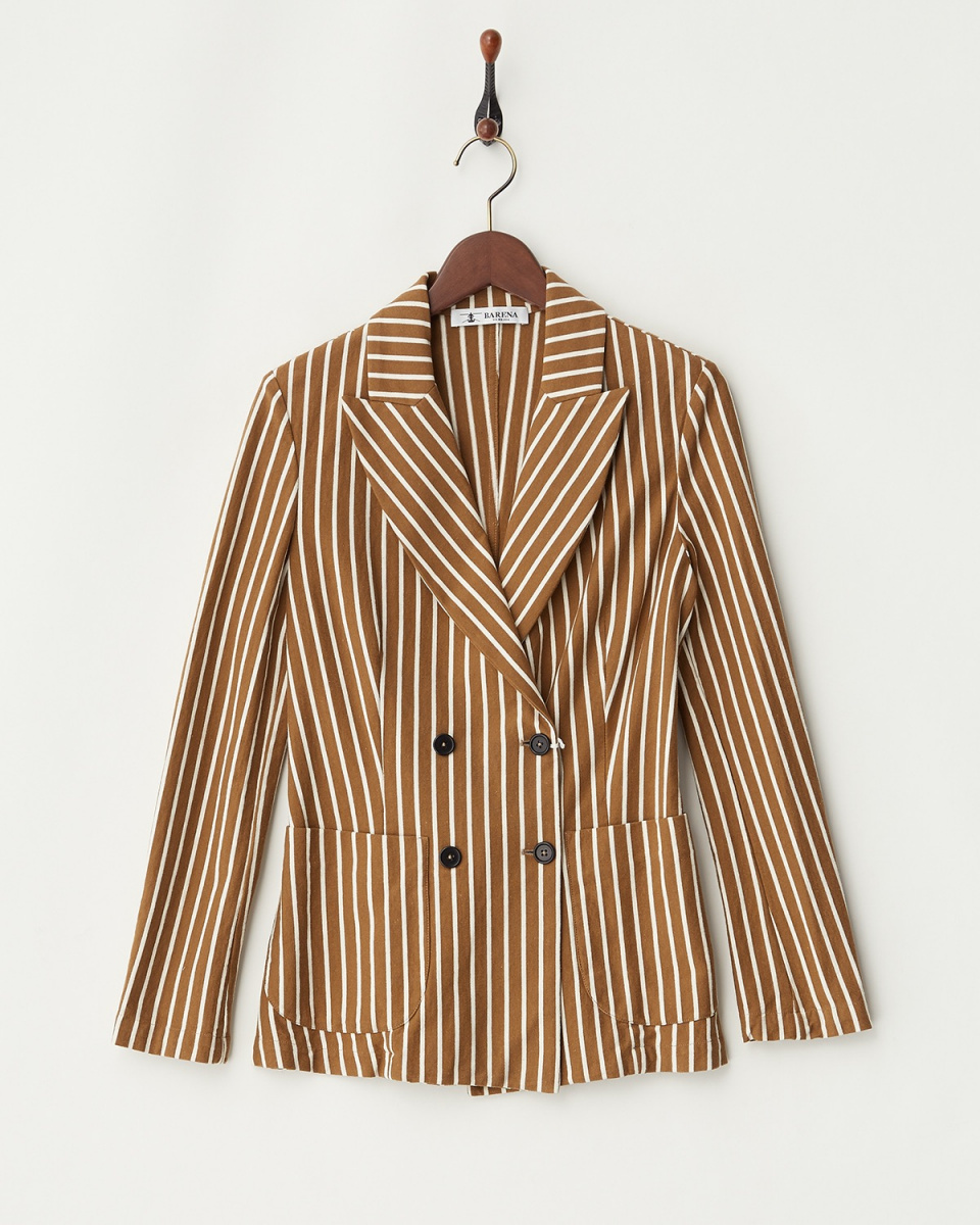/ Brown stripe double jacket ○ 32076207557 / Women's