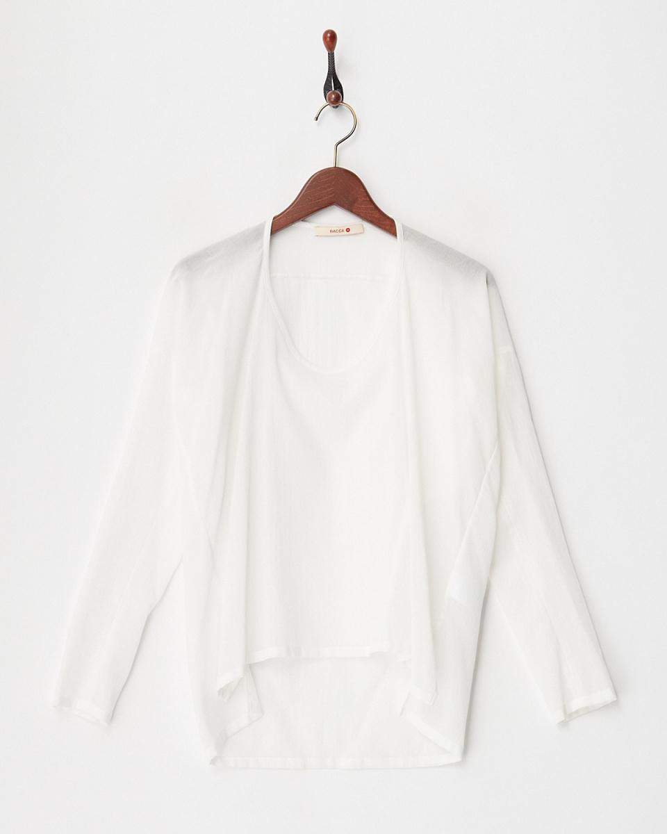 BACCA / white crepe cotton U-neck pullover / Women's