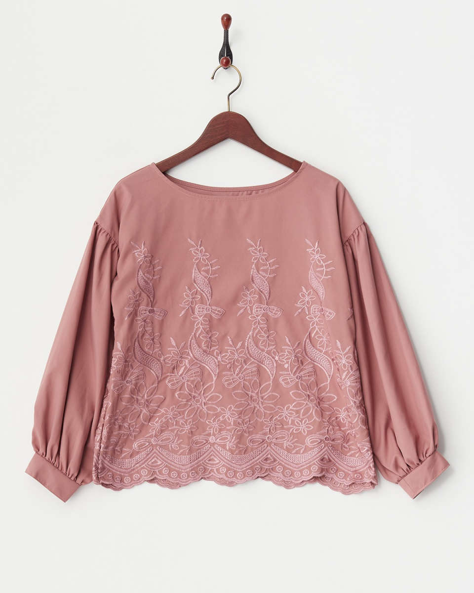 VINGTROIS / pink beige embroidery scalloped sleeves volume blouse ○ 226-57182 / Women's