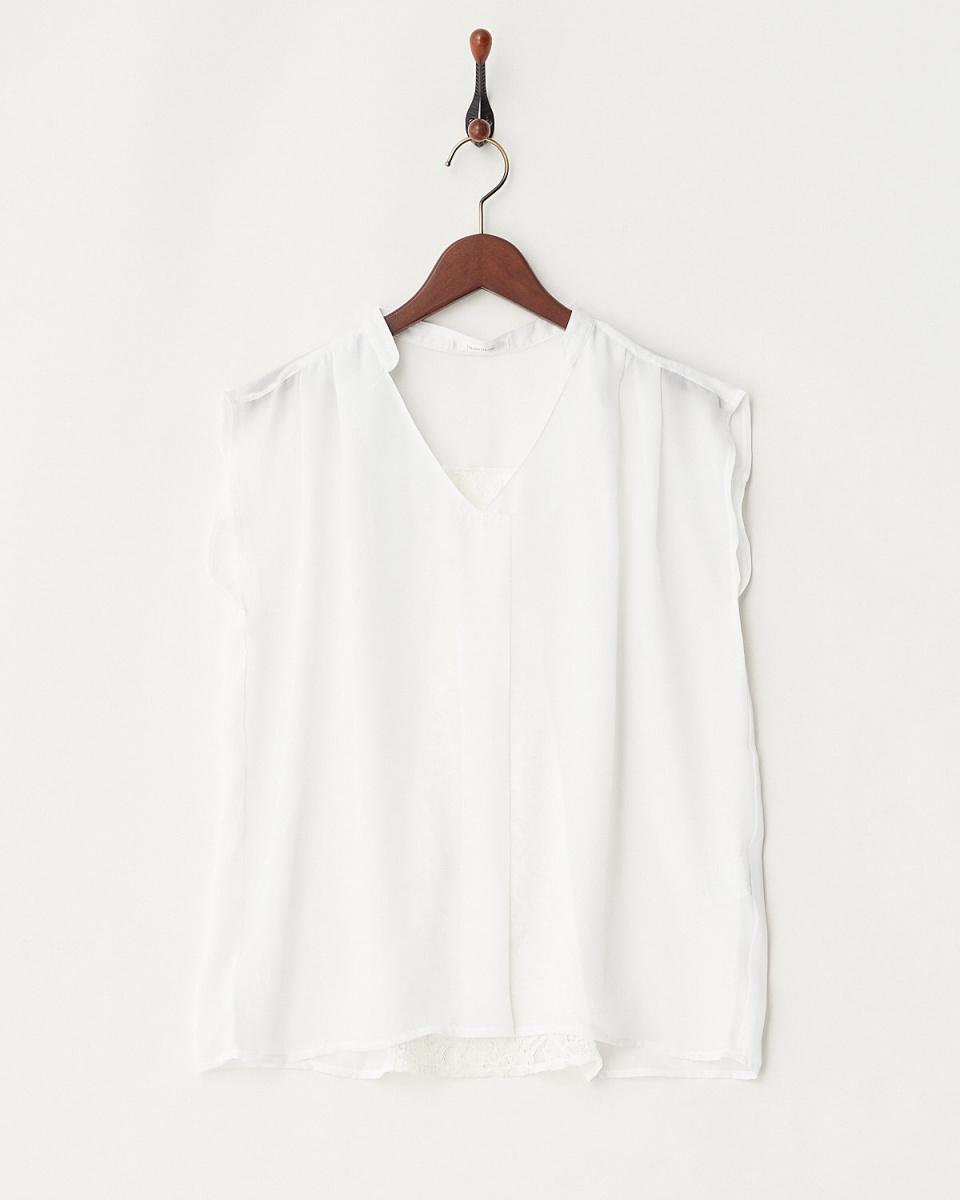 Roomy's / race Georgette V-neck skipper shirt ○ 52830458 / Women's