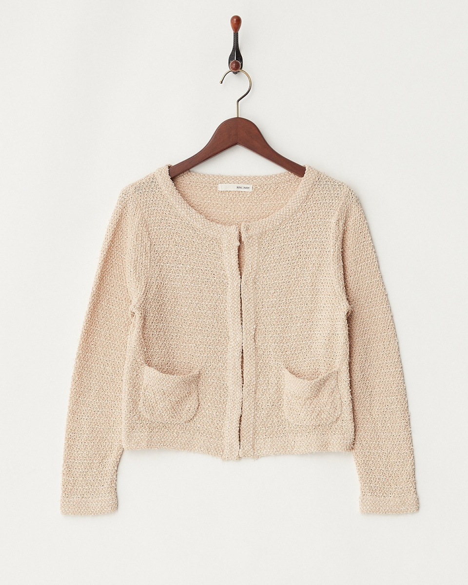 ROYALPARTY / beige summer knit tweed jacket / Women's
