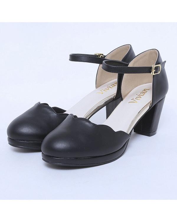 vivian / black PU platform scalloped ankle strap pumps