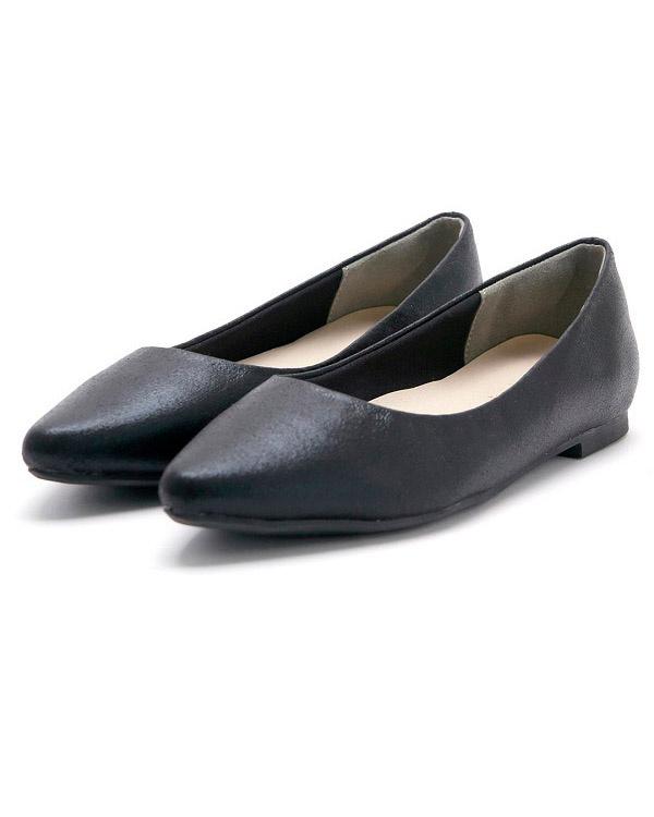 MINKY我!/黑色金屬尖的鞋頭平板可以運行泵