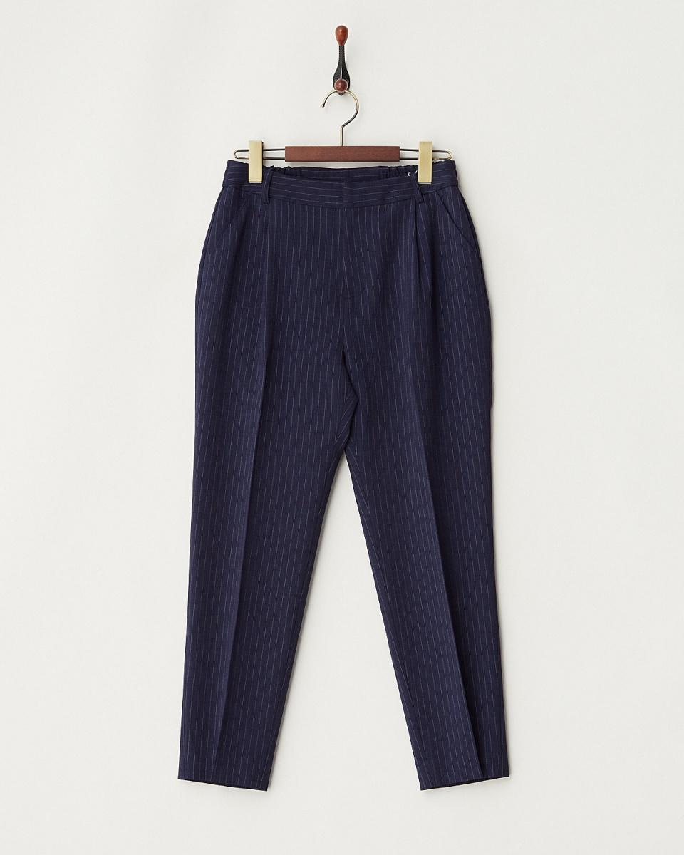 白喬拉/藍色條紋模擬扭曲褲
