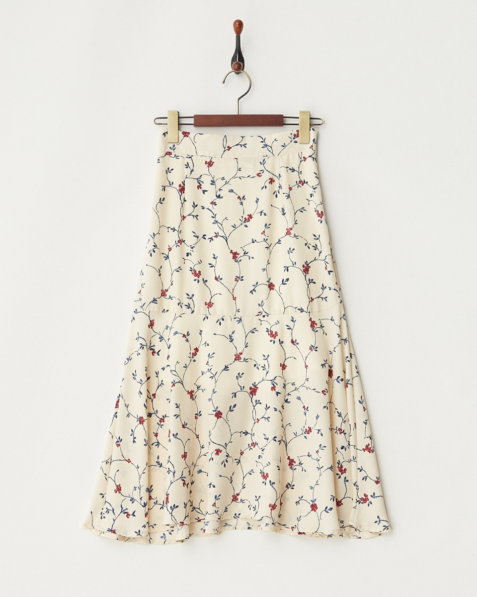 ARCHIVES / IVORY floral Mimore length flared skirt / Women's