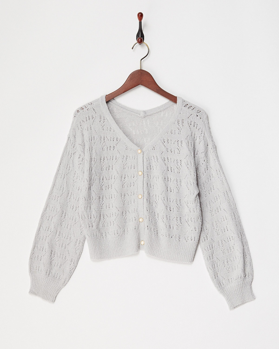 ARCHIVES / GRAY Feather watermark pattern Cardigan / Women's