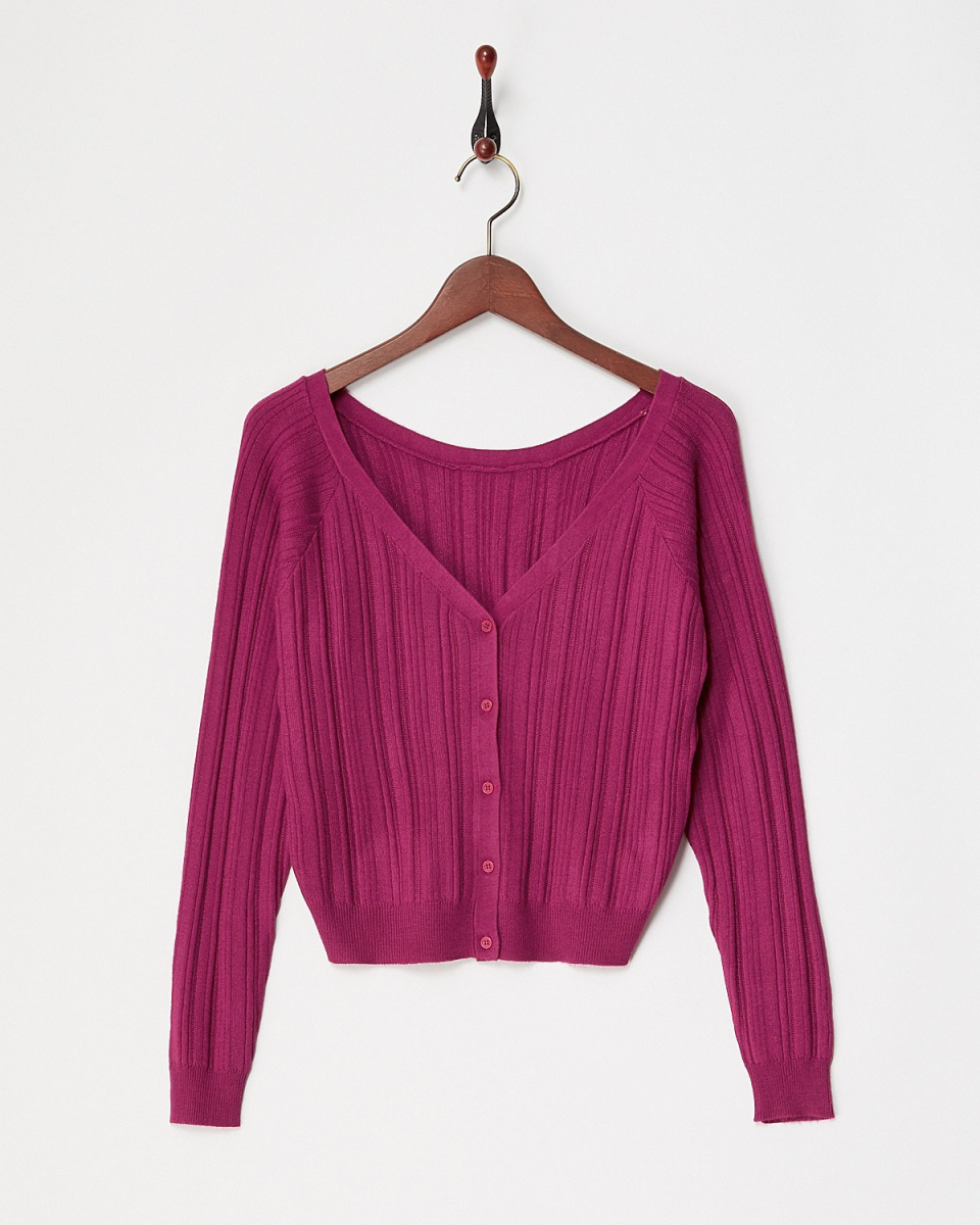 ARCHIVES / ROSE PINK random rib Cardigan / Women's