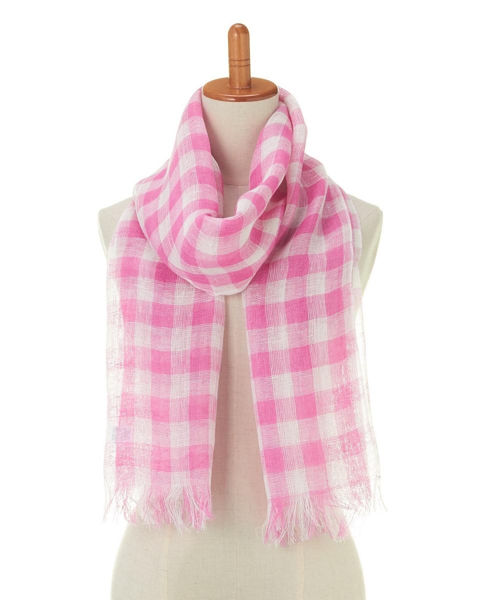 YOSHIMASA / pink linen gingham check stall | UNISEX