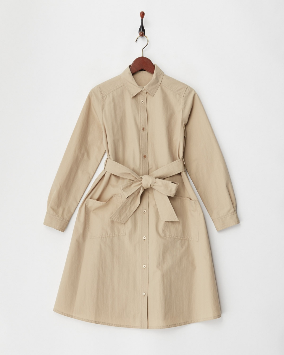 低级夜总会/米色纯棉的尼龙外套连衣裙○HD180105 /女装