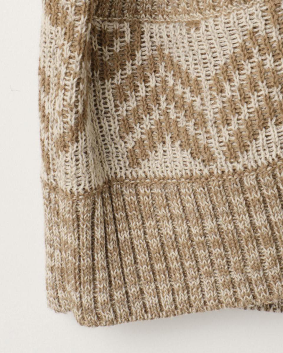 goa / Camel monotone native jacquard knit shawl collar cardigan ...