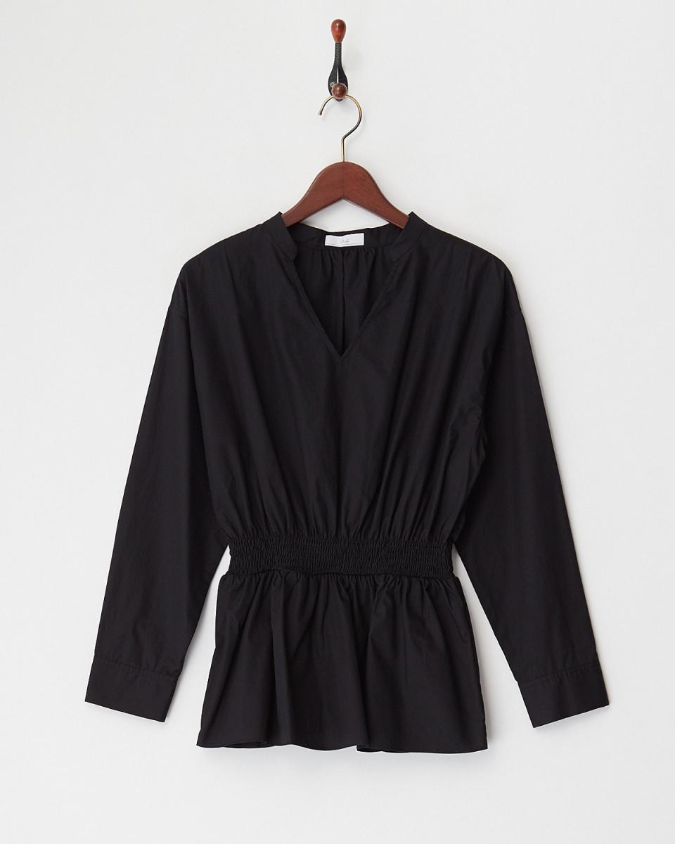 奧蒂莉/黑色腰部抽褶上衣○K103898 /女裝